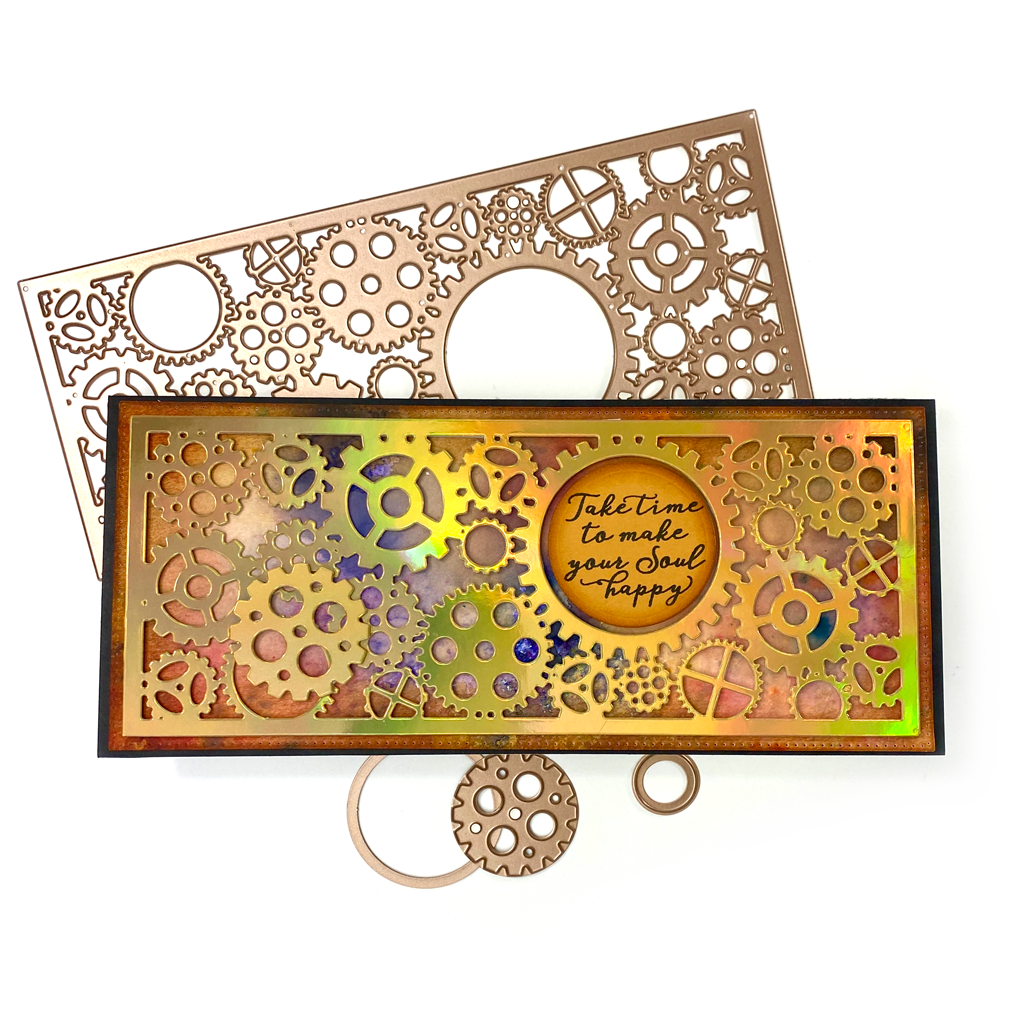 """Get artzy with your next project using this unique gears die.  They are sized to create beautiful layers on a 8.5"""" x 3.75"""" slimline style card that fits in a #10 envelope.  You will get 5 dies.  The largest frame is cuts a rectangle that is 8-3/8"""" x 3-5/8"""" with a fresh dot pattern for a finished look.  The large die with the gears is 8""""x3-1/4"""".  You will get a 1-1/2"""" mini gear with a frame around it and a tiny mini circle."""