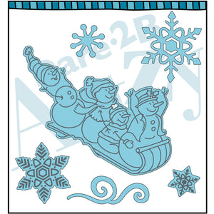 Metal die to cut images Snowman Family on sled and snowflakes.