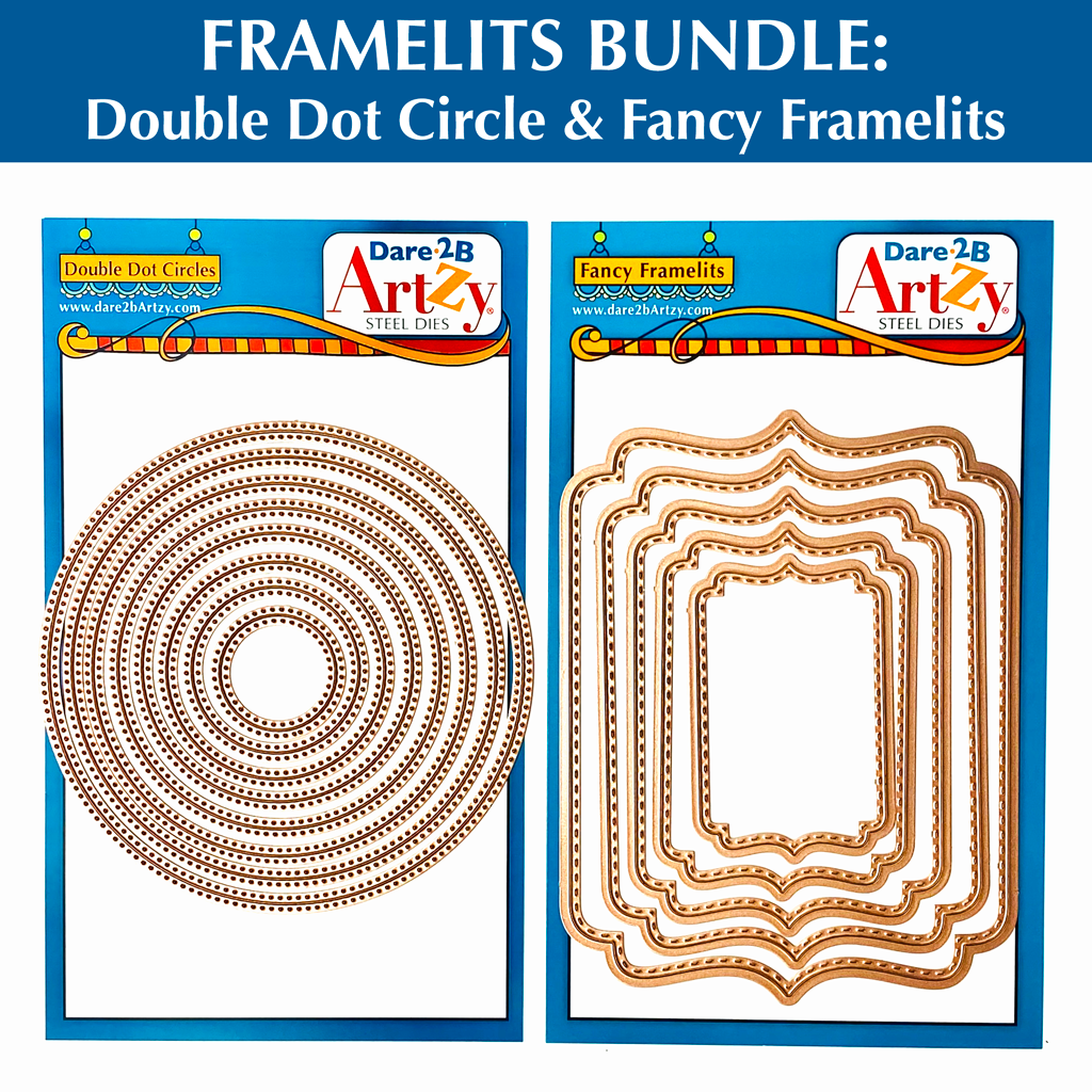 Double Dot Circle and Rectangle Fancy Framelit Die Bundle