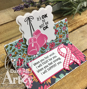 Stamped card with boxing glove and cancer ribbon using clear stamp and metal die and fun fold. Great for inspiration and get well cards.