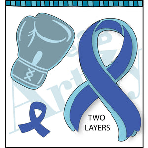 boxing glove and cancer ribbon coordinating steel dies for clear stamp set.