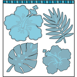 four steel dies coordinate with hibiscus clear stamp set.