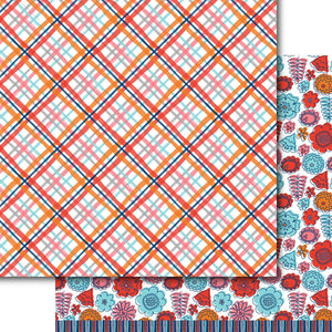 Orange Plaid Paper Pack (15 sheets)