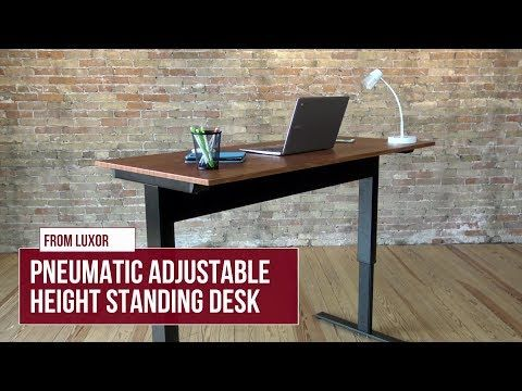 "Image of PNEUMATIC 48 "" Or 56 "" Adjustable Height Standing Desk (Black Frame/Teak Wood Top)"