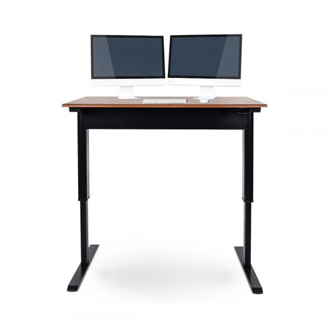 "PNEUMATIC 48 "" Or 56 "" Adjustable Height Standing Desk (Black Frame/Teak Wood Top)"