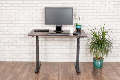 "Image of LUXOR 48"" 3-STAGE DUAL MOTOR ELECTRIC STAND UP DESK  (BLACK FRAME/Dark Walnut TOP)"