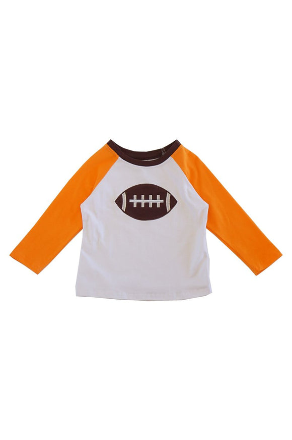 Orange football applique raglan shirt 012243