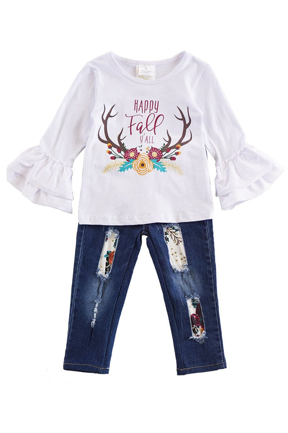 Happy fall yall top with denim jeans set CKTZ-012279