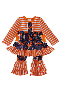 Orange white fox print ruffle set CXTZ-012292 sale