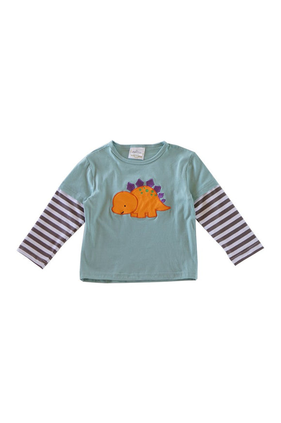 Dinosaur applique blue boy shirt CXSY-012311