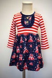 Red strip with navy valentine floral car print dress CXQ-012475