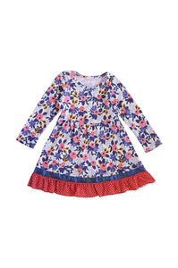 Blue red floral ruffle girls dress 150297