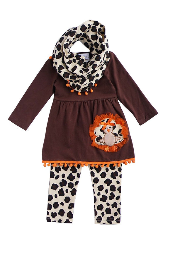 Brown turkey applique leopard scarf pants 3 pcs set SJT-190009