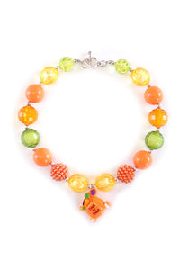 Orange trick or treat Bubble Beads Necklace pendant 190925  $10.99/3pc