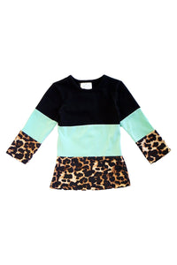 Mommy & me mint leopard black top with back lace for girl 1911171