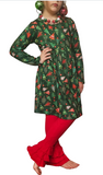 Festive Holiday Trees Ruffle Pants Outfit