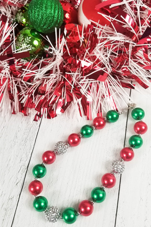 Holiday Bubblegum Necklace - Red & Green with Silver Sparkle