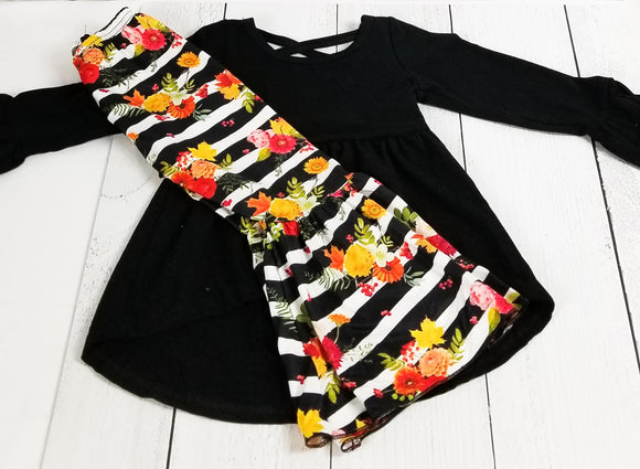 Solid Black Criss-Cross Tunic with Floral Stripe Bell Bottoms