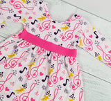 Sweet Musical Notes Dress with Ruffle Accent Leggings [NEW, Ready To Ship!]