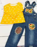 Sunflower Shirt with Distressed Denim Overalls Outfit