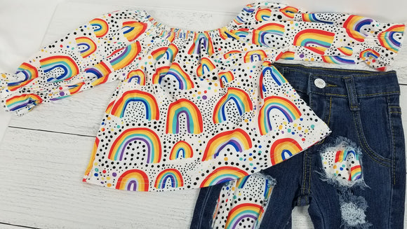 Rainbow Shirt with Distressed Denim Bell Bottoms
