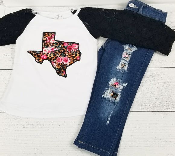 Texas Cutie Distressed Denim Outfit