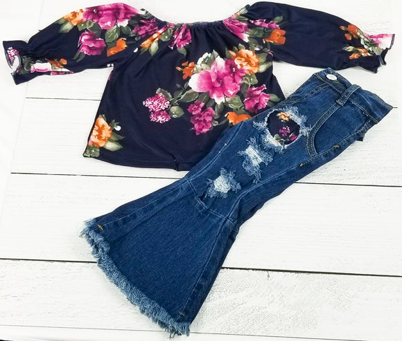 Floral Ruffled Shirt with Distressed Denim Bell Bottoms