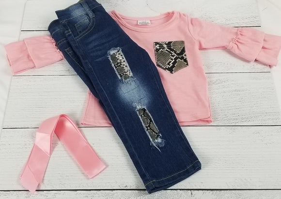 Pink Snakeskin Ruffle Sleeve Denim Outfit