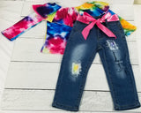 Primary Colors Tie Dye Ruffle Neck Shirt with Distressed Jeans