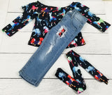 Watercolor Horses Distressed Jeans Outfit