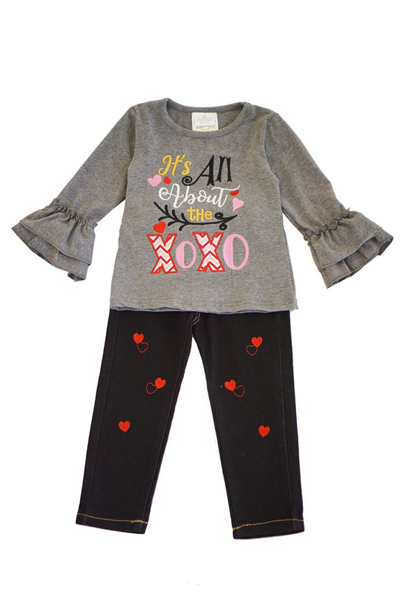 It's all about the XOXO top with heart denim jeans set CKTZ-204010