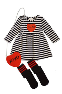 Black stripe love sequins dress with bag and sock set CXQZ-204012