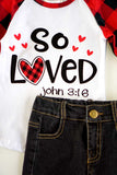 So Loved check top with hearts patch jeans set CXCKTZ-204022