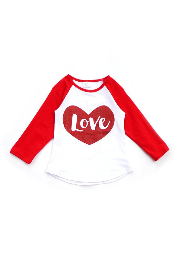 Red Love Valentine Top for Girls T-317660 sale