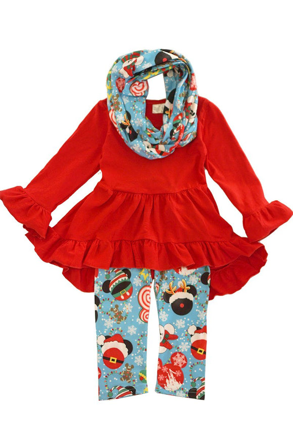 Red disney mouse ruffle tunic scarf pants set SJT-318547 sale
