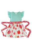 Mint ruffle floral short sleeve girls dress 319793