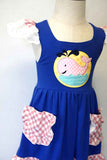 Whale applique ruffle dress