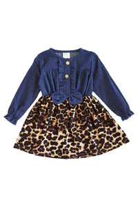 Leopard print denim bow front dress CXQ-400840 400897