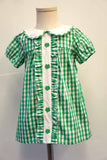 Green clover back to school St.Patrick's Day girls dress 400951