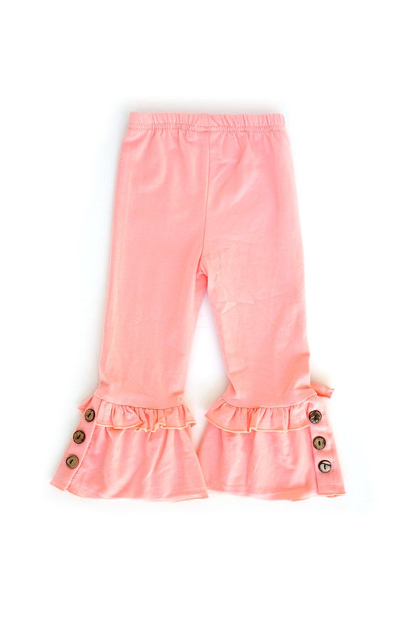 Pink Solid Ruffle Pants With Button Accent  CK-503095