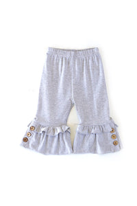 Grey Ruffle Button Accent Capri Pants 503335 shorts