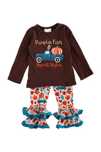 Brown pumpkin truck with pants set CXCKTZ-503793