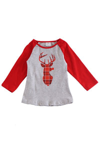 Red plaid reindeer raglan shirt 503813