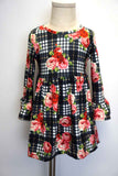 Black white plaid floral bell sleeve dress CXQZ-504038