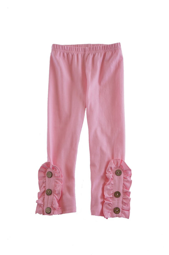 Solid pink button ruffle legging CK-540008