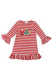 Red stripe santa tree deer applique ruffle dress CXQ-5400144