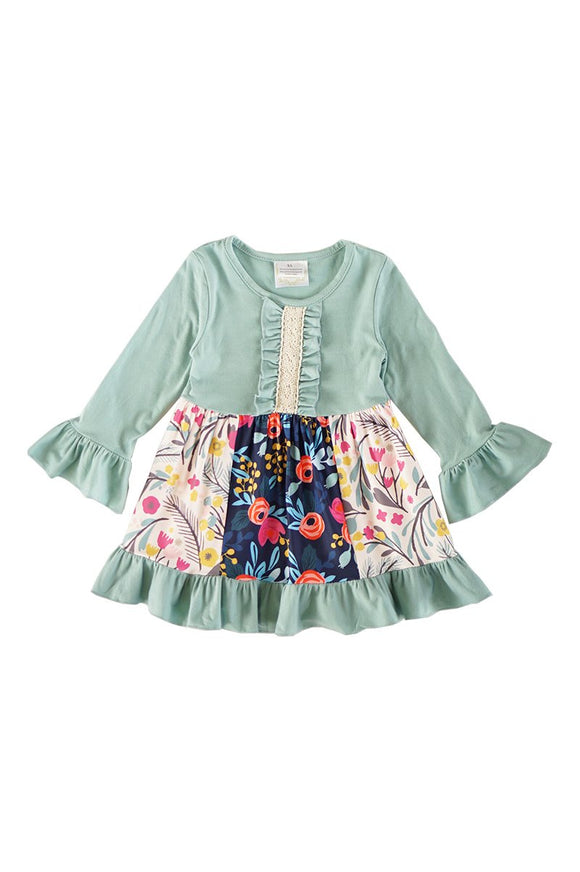 Mint floral romper overall for girls CXQ-540204