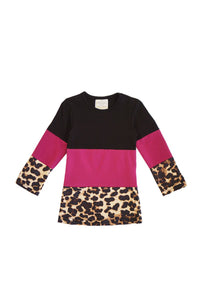 Black maroon leopard shirt mommy & me for girls CXSY-540217