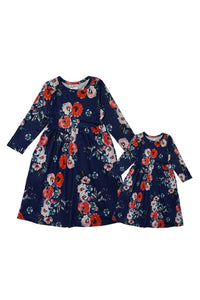 Navy floral maxi dress for women mommy & me DRJDQ-580306 sale