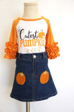 Orange cutest pumpkin with denim skirt set CXQTZ-580326 sale